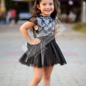 Siyah Dantelli Payetli Elbise