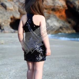 Siyah Payetli Yüzücü Elbise