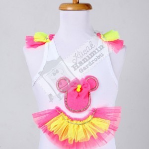Neon Minnie Mouse Badi